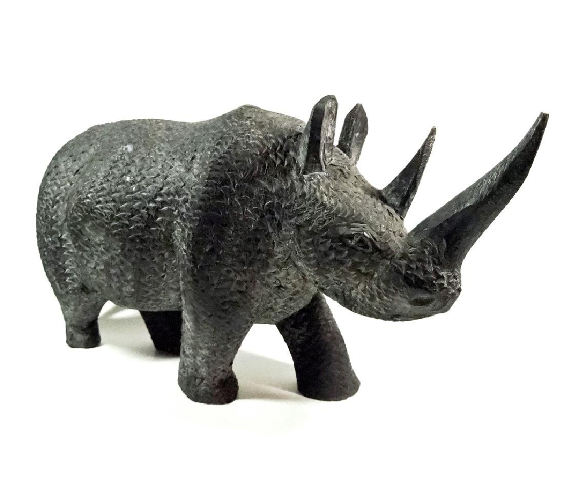 AFRICAN CARVED WOOD RHINO SCULPTURE, BLACK FINISH, LOSS - 2
