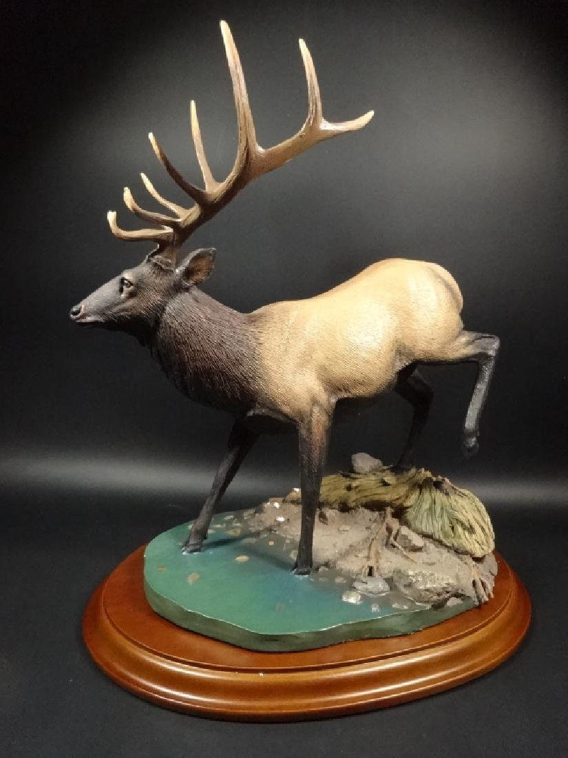 HAND PAINTED STAG SCULPTURE, THE CROSSING, BY BRUCE