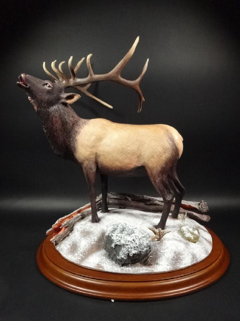 HAND PAINTED STAG SCULPTURE, WINTER CALL, BY BRUCE