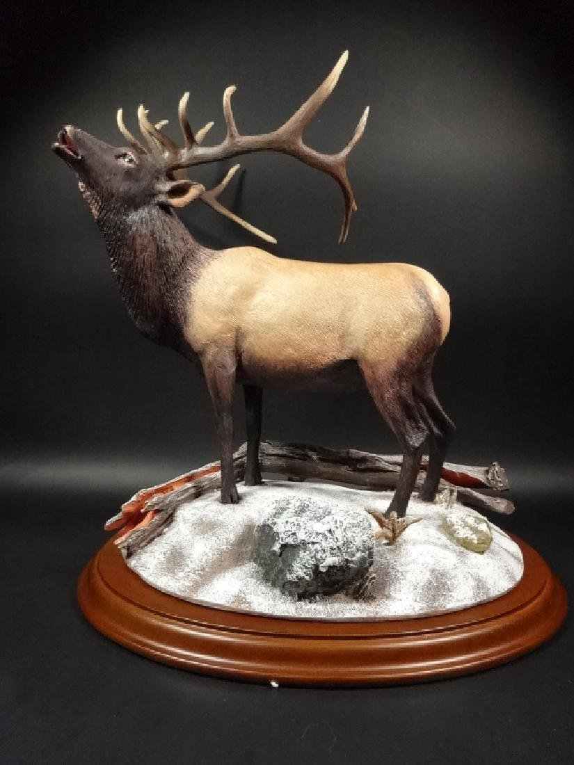 HAND PAINTED STAG SCULPTURE, WINTER CALL, BY BRUCE - 2