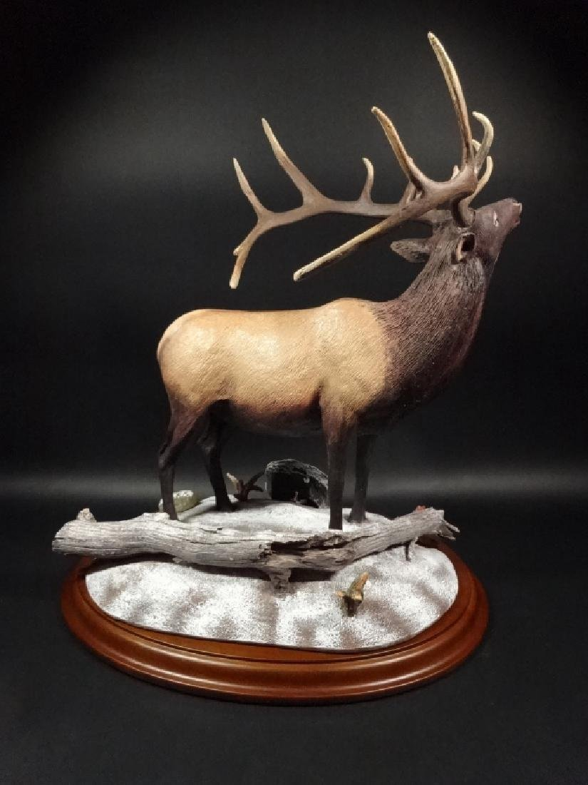HAND PAINTED STAG SCULPTURE, WINTER CALL, BY BRUCE - 4