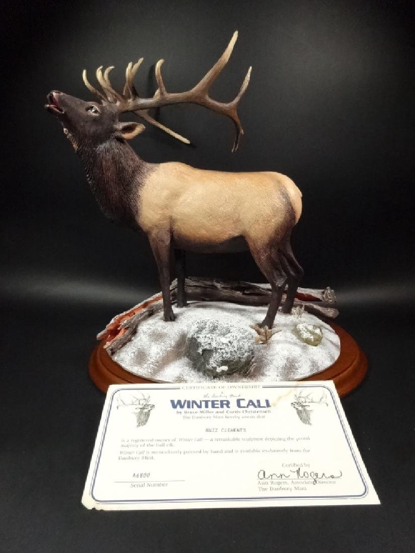 HAND PAINTED STAG SCULPTURE, WINTER CALL, BY BRUCE - 6
