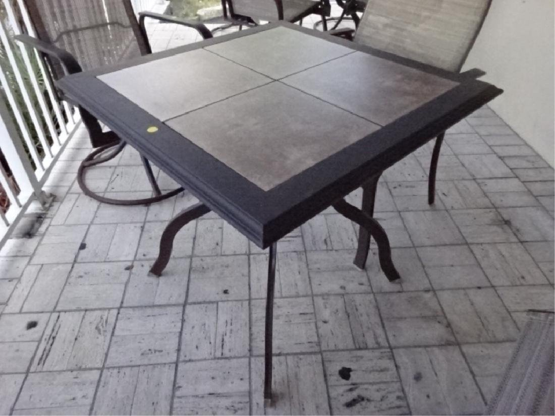 5 PC PATIO SET, TABLE AND 4 ARMCHAIRS, METAL FRAMES, - 2