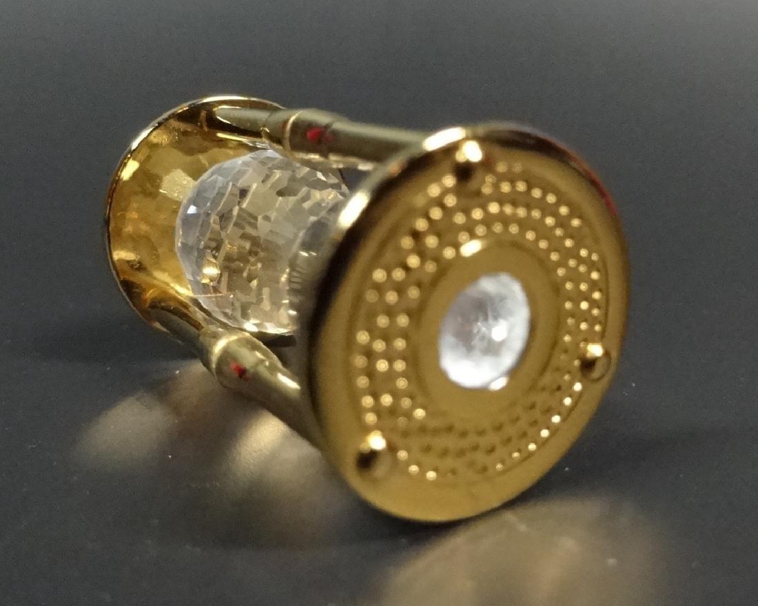 RETIRED SWAROVSKI CRYSTAL MINI HOURGLASS, 18K GOLD - 6