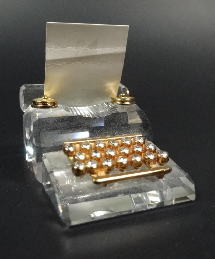 RETIRED SWAROVSKI CRYSTAL MINI TYPEWRITER, 18K GOLD - 2