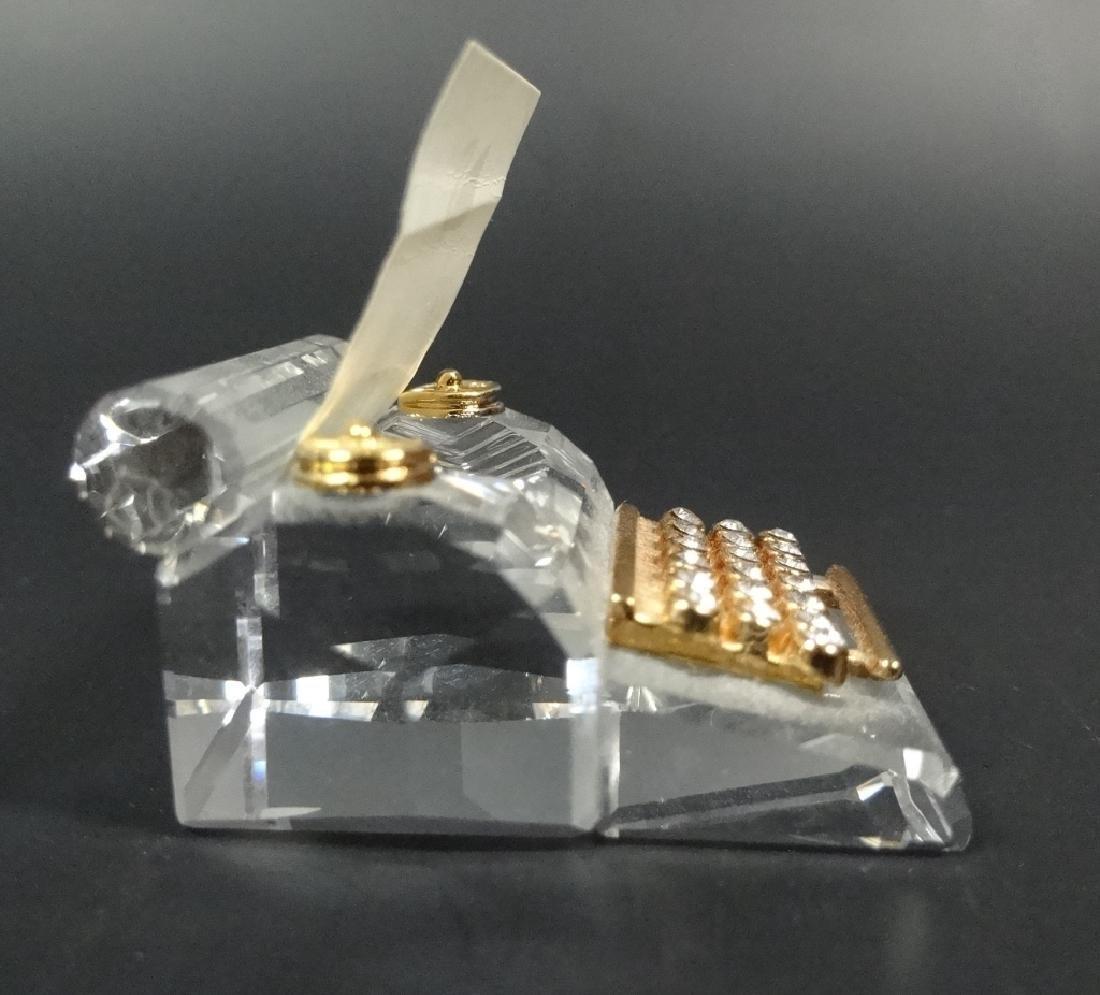 RETIRED SWAROVSKI CRYSTAL MINI TYPEWRITER, 18K GOLD - 6