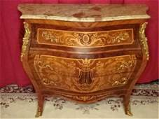 LOUIS XV STYLE MARQUETRY BOMBE CHEST MARBLE TOP WITH