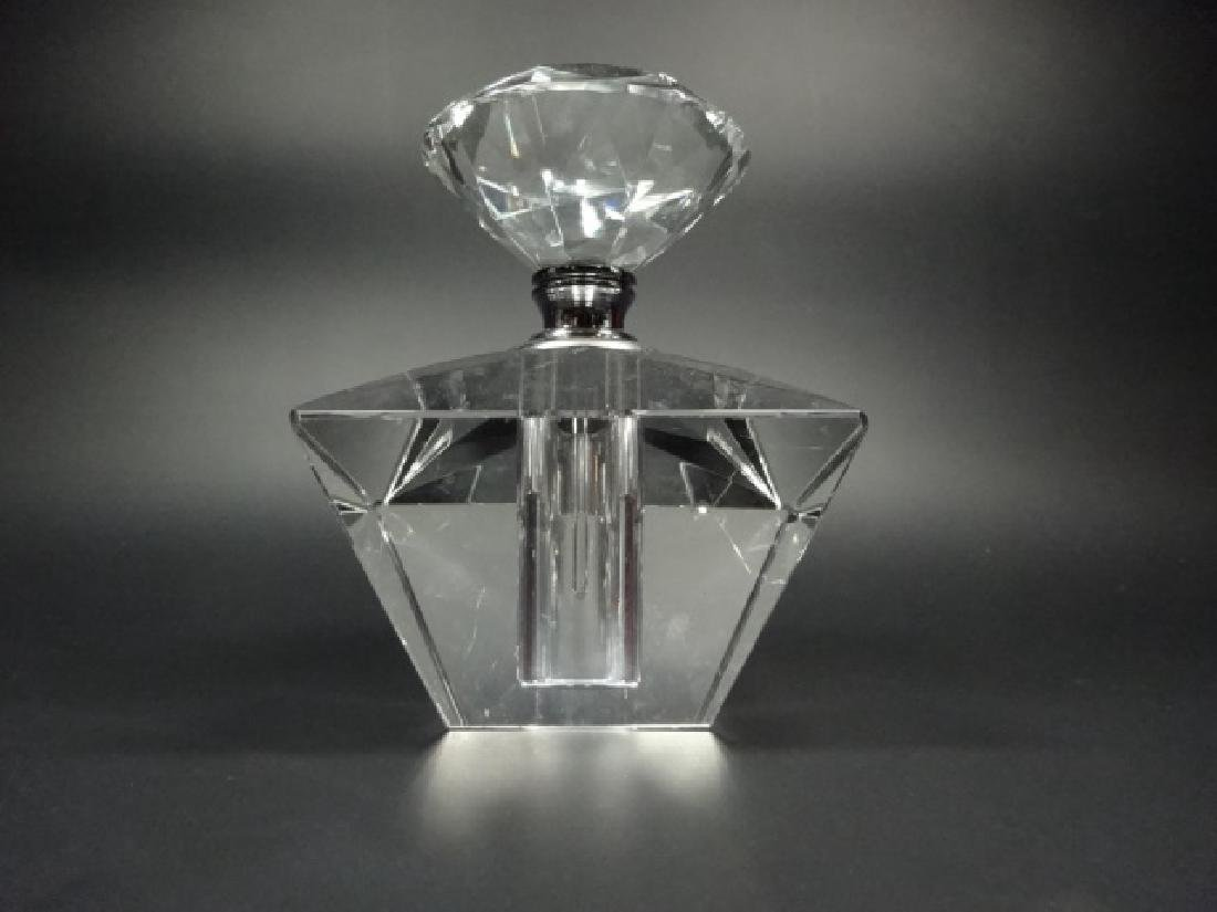 "LARGE CRYSTAL PERFUME BOTTLE, APPROX 4.25"" X 3.25"""