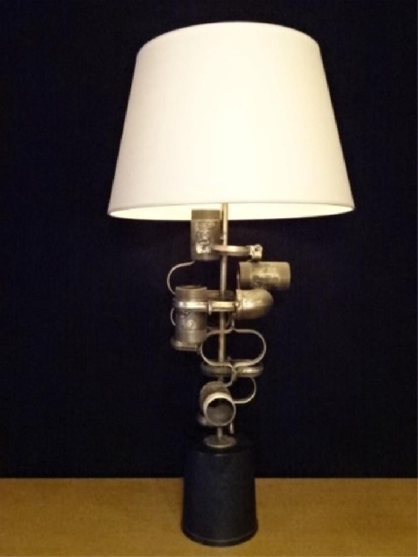 VINTAGE BRUTALIST STEAMPUNK TABLE LAMP FASHIONED FROM
