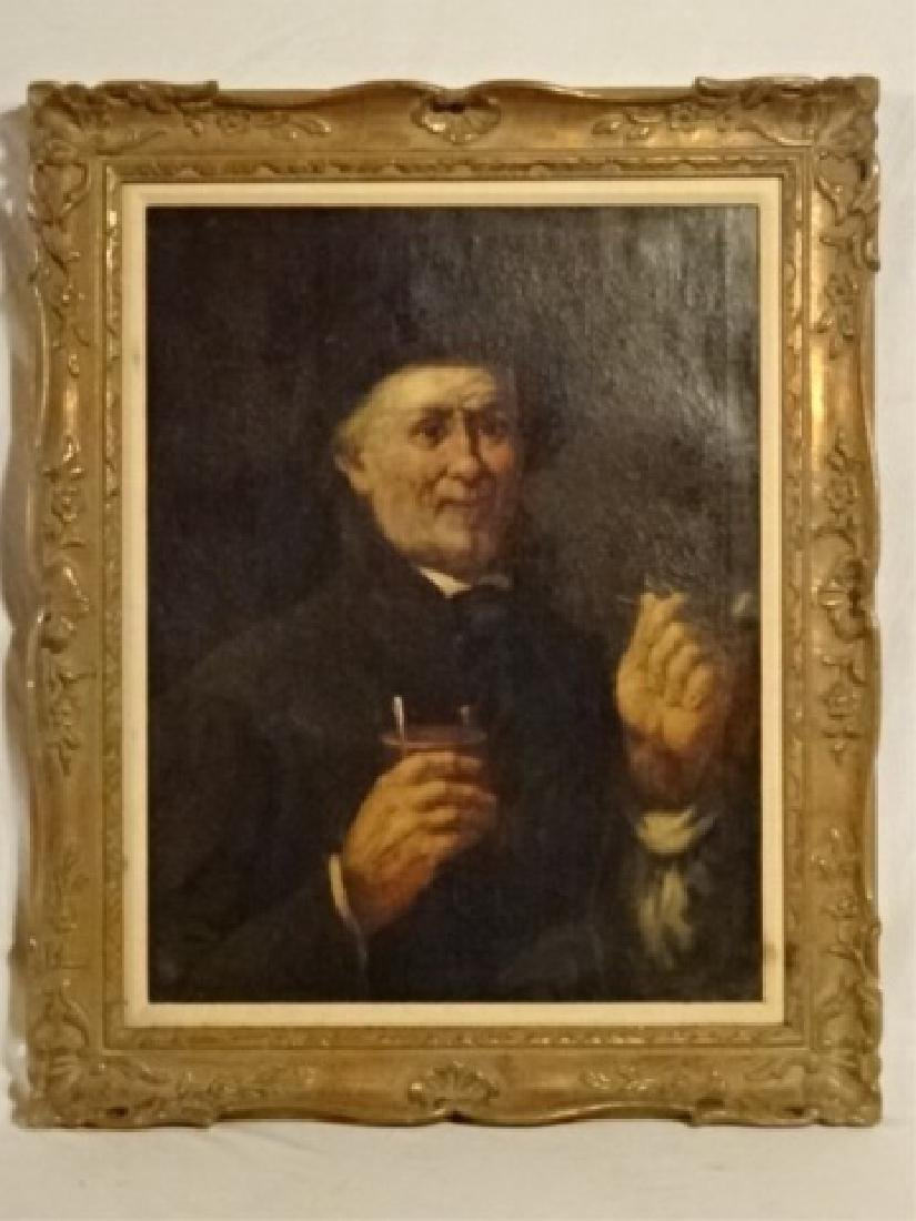 OIL ON BOARD PAINTING CIRCA LATE 1800's, MAN WITH PIPE