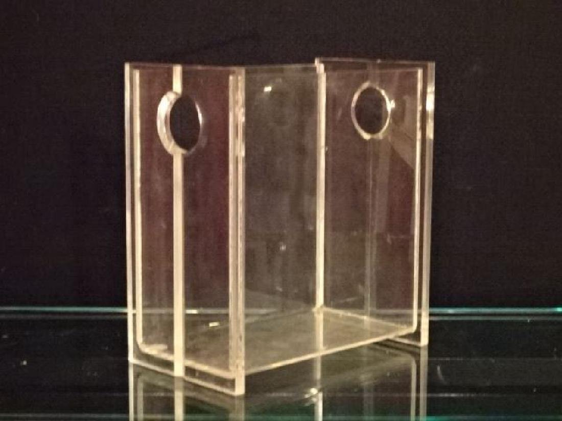 MID CENTURY CLEAR LUCITE BIN, VERY GOOD CONDITION WITH