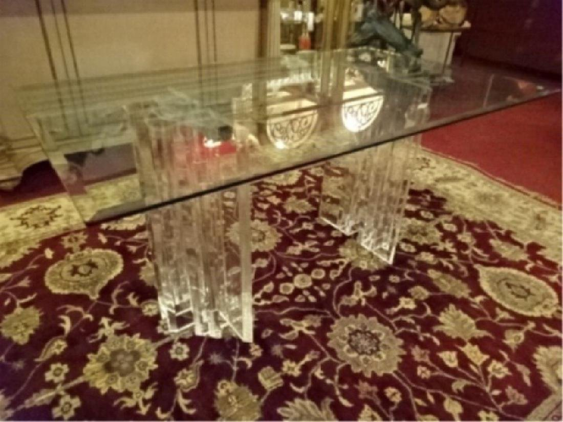 MID CENTURY LUCITE DINING TABLE, DUAL PEDESTAL LUCITE