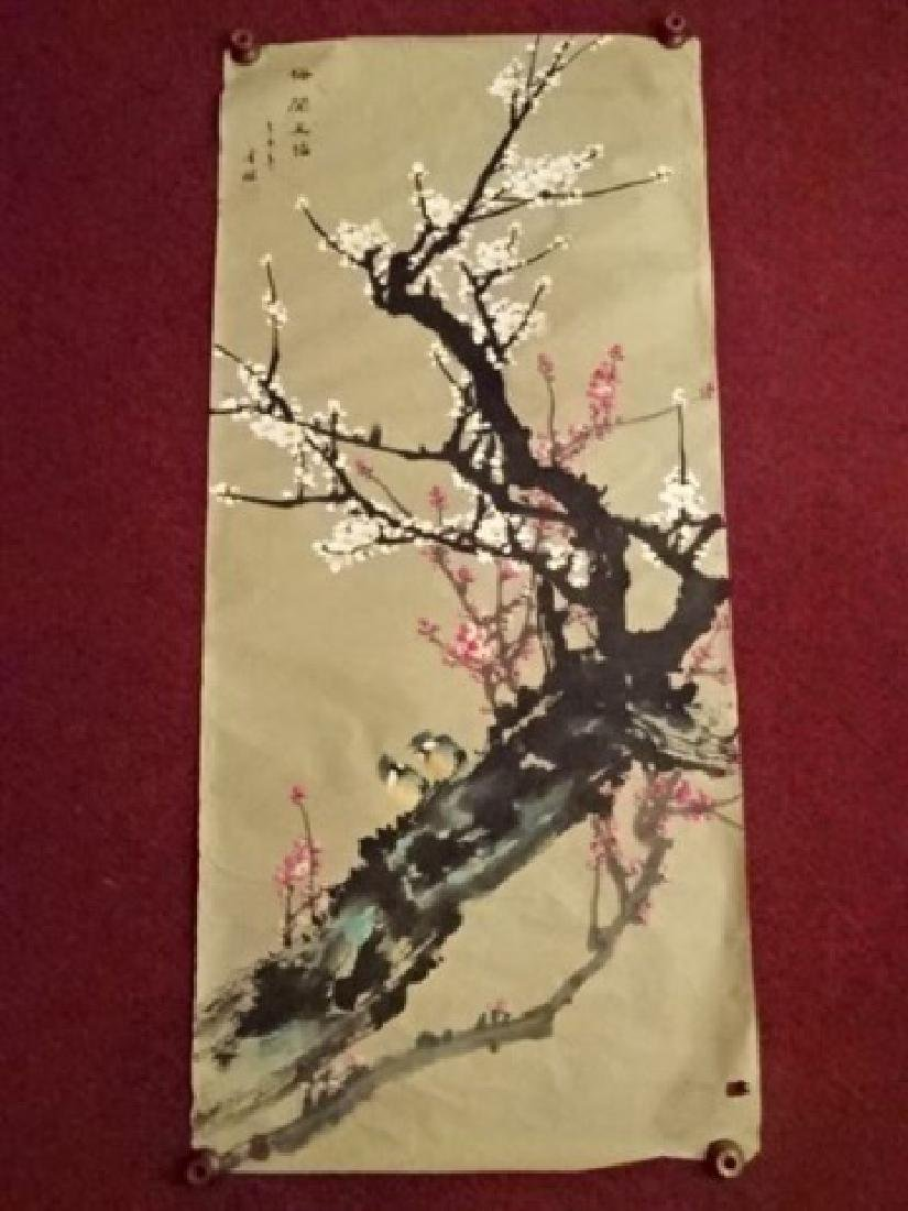 CHINESE PAINTING ON PAPER, CHERRY BLOSSOMS, CALLIGRAPHY