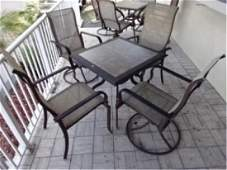 5 PC PATIO SET, TABLE AND 4 ARM CHAIRS, METAL FRAMES,