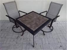 3 PC PATIO SET, TABLE AND 2 SWIVEL ARM CHAIRS, METAL