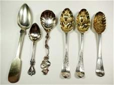 6 PC ASSORTED STERLING SILVER SERVING SPOONS LARGEST