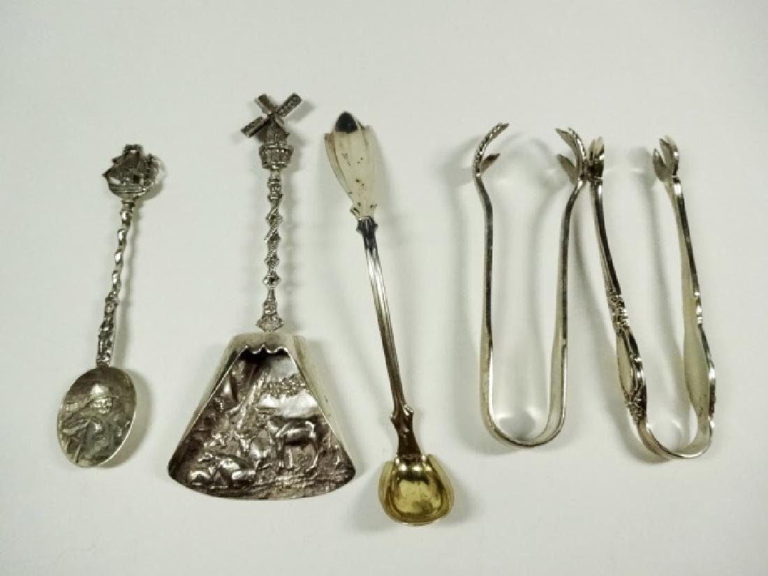 5 PC STERLING SILVER SPOONS & TONGS, LONGEST APPROX 5