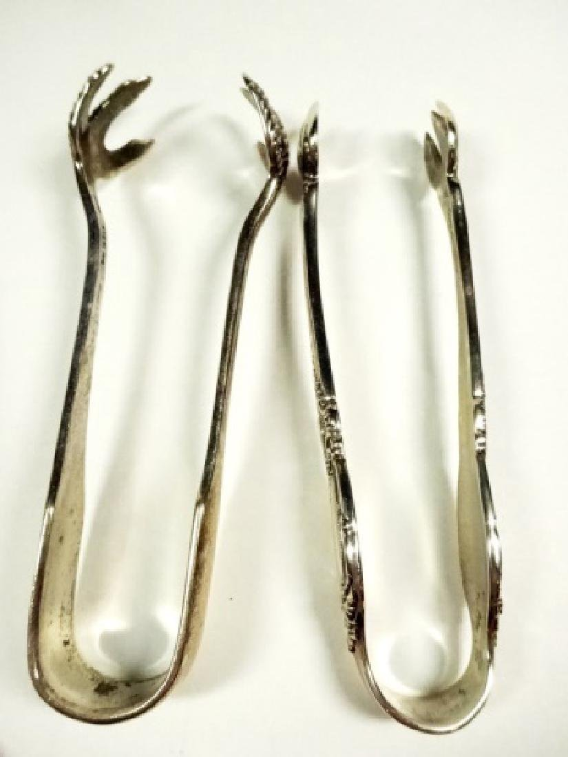 5 PC STERLING SILVER SPOONS & TONGS, LONGEST APPROX 5 - 6