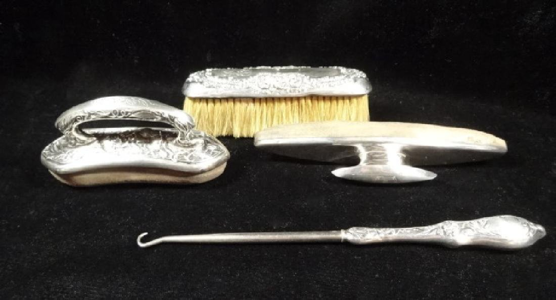 4 PC STERLING SILVER SHOE CARE KIT, WITH BUTTONHOOK