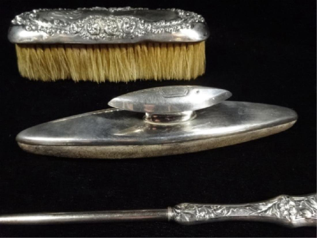 4 PC STERLING SILVER SHOE CARE KIT, WITH BUTTONHOOK - 5