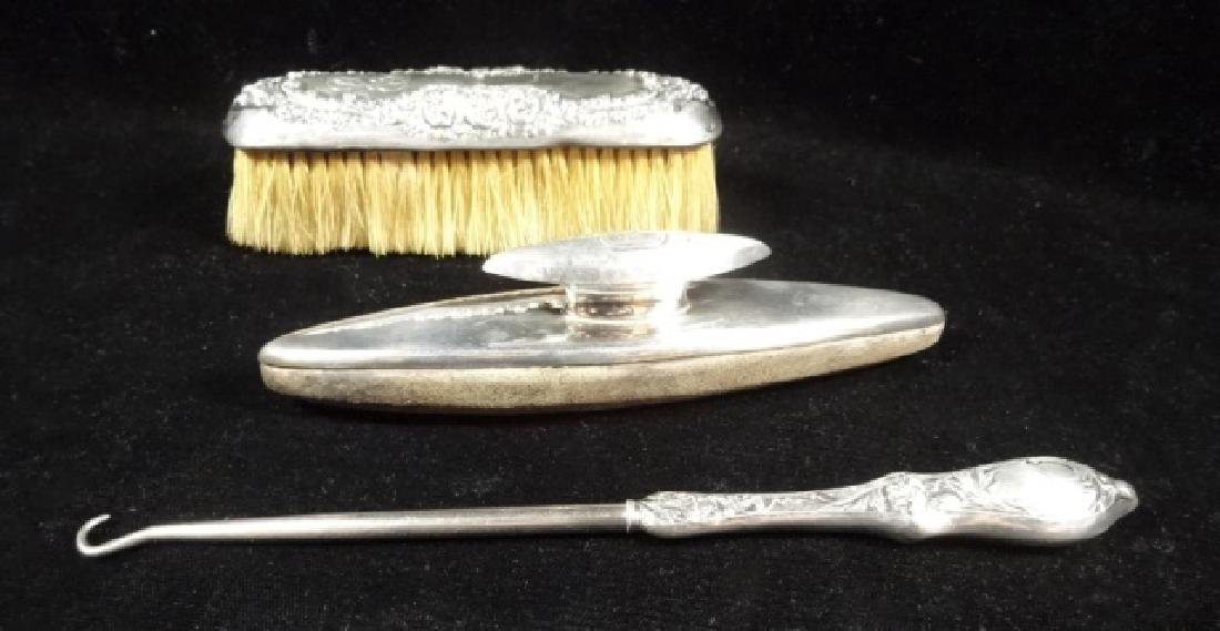 4 PC STERLING SILVER SHOE CARE KIT, WITH BUTTONHOOK - 6