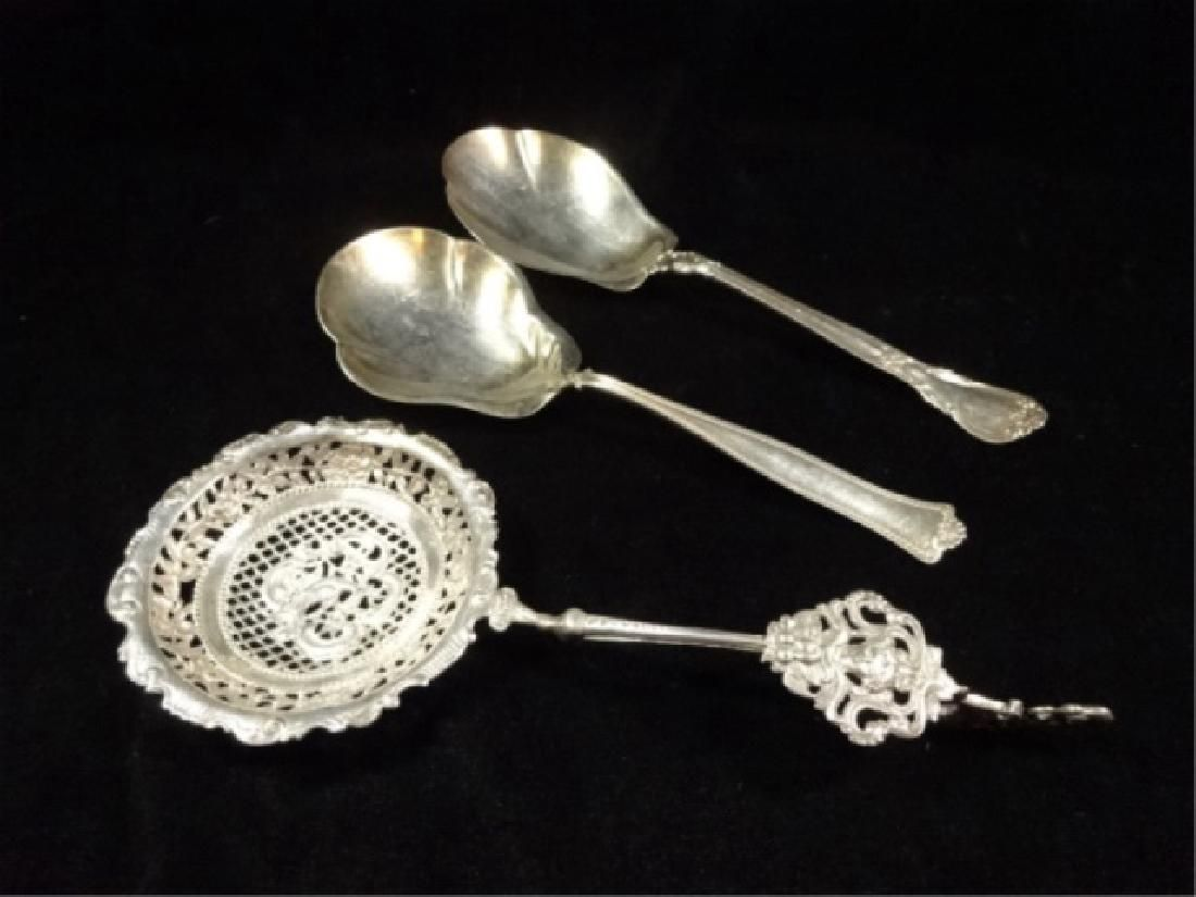 """3 PC STERLING SILVER SPOONS, LONGEST APPROX 9.5"""", TOTAL"""