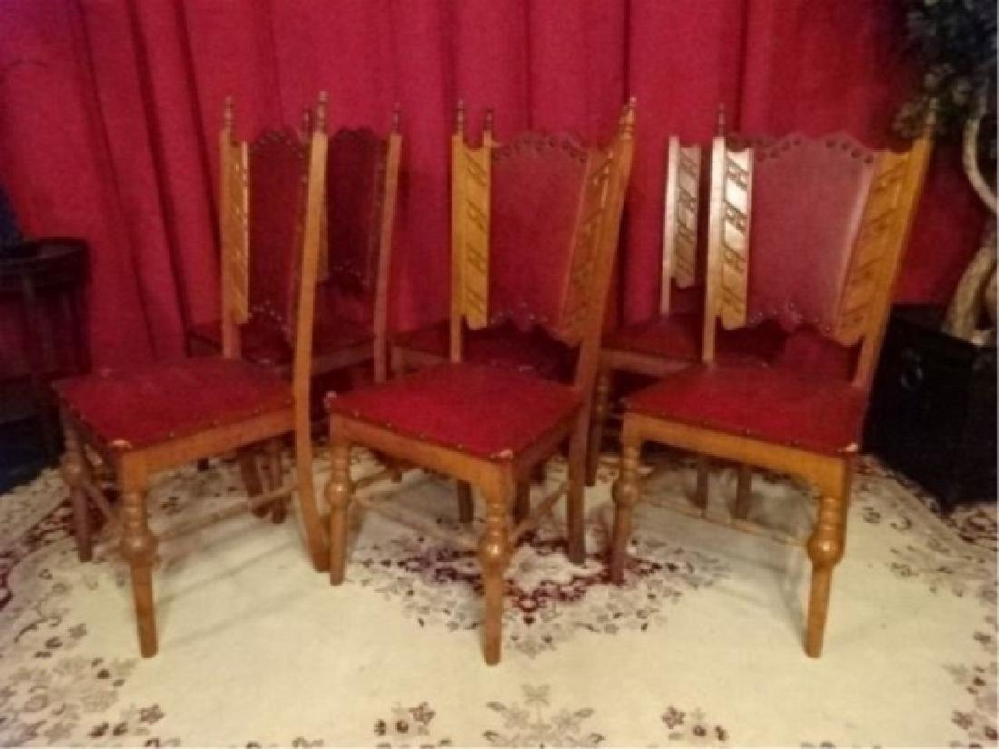 6 SPANISH COLONIAL REVIVAL CHAIRS, LEATHER UPHOLSTERY,