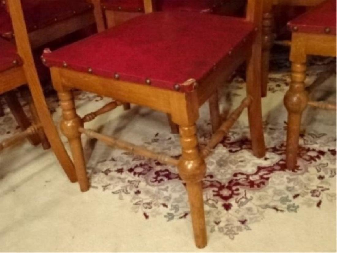6 SPANISH COLONIAL REVIVAL CHAIRS, LEATHER UPHOLSTERY, - 4