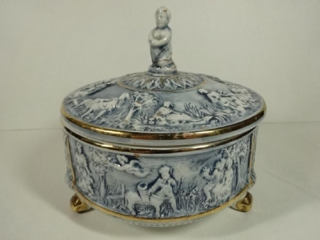 ITALIAN CAPODIMONTE PORCELAIN BOWL WITH LID, BLUE AND