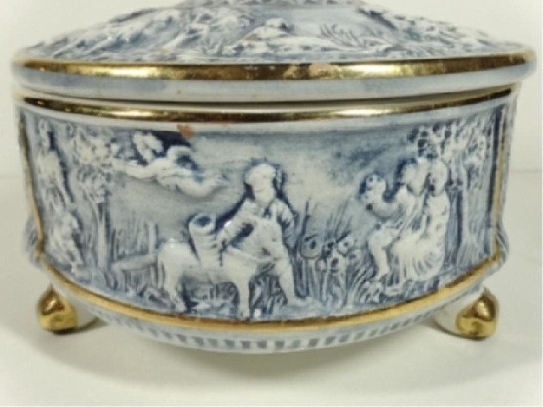 ITALIAN CAPODIMONTE PORCELAIN BOWL WITH LID, BLUE AND - 3