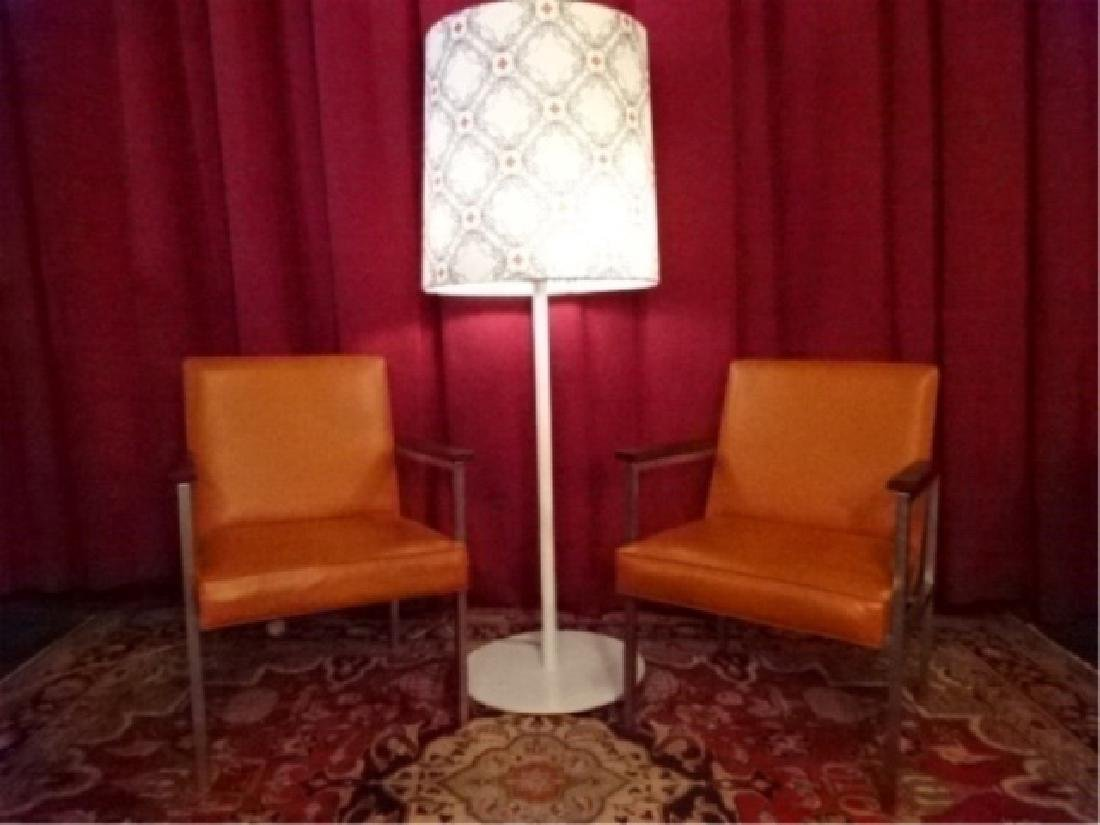 PAIR MID CENTURY MODERN STEEL ARM CHAIRS, SAFFRON VINYL
