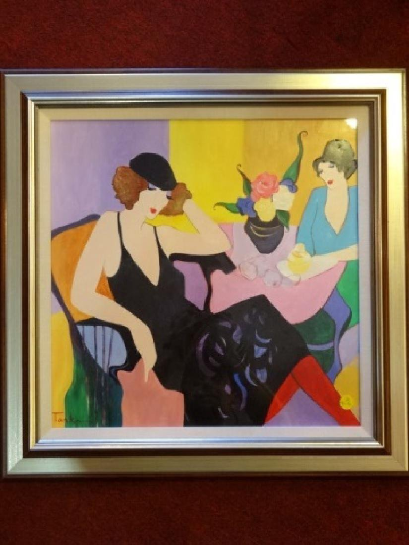 ITZCHAK TARKAY WATERCOLOR PAINTING, 2 LADIES, SIGNED