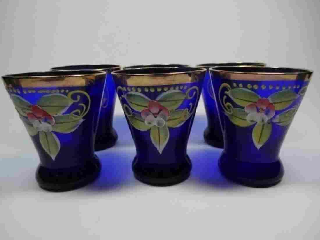 6 PC HANDPAINTED COBALT GLASS CORDIALS / SHOTGLASSES,
