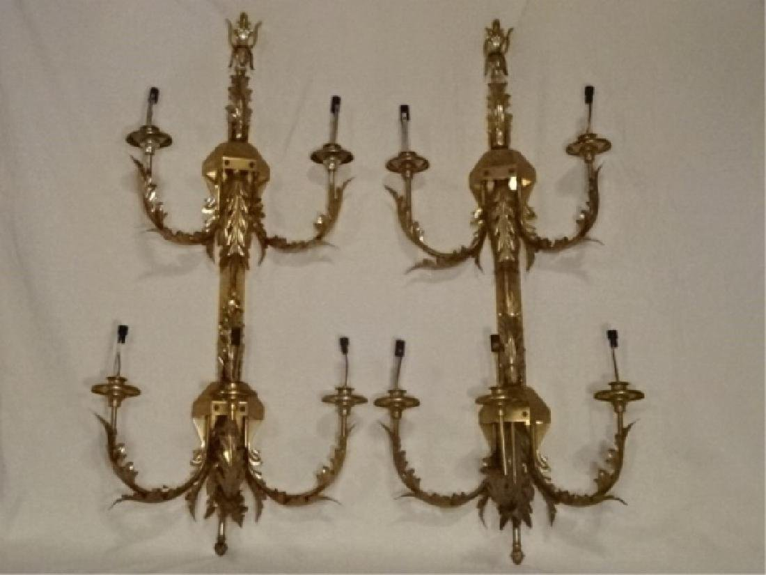 PAIR LARGE BRASS WALL SCONCES, 6 LIGHTS EACH, ACANTHUS