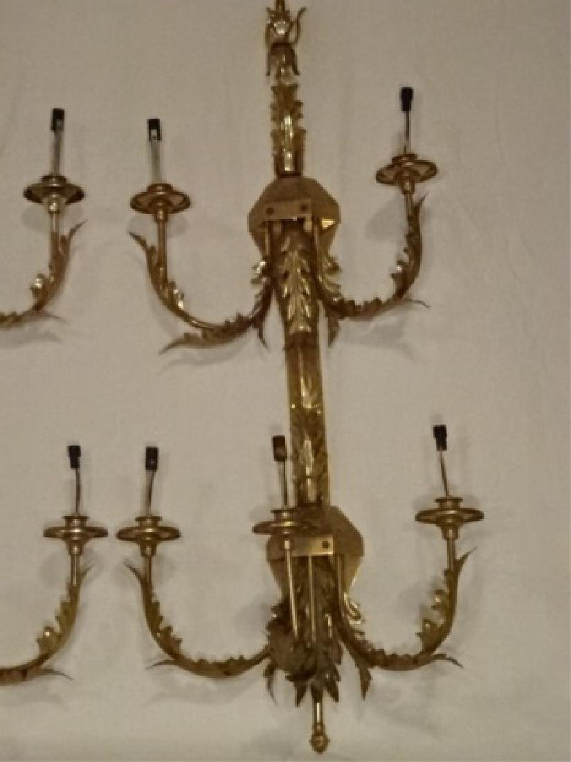 PAIR LARGE BRASS WALL SCONCES, 6 LIGHTS EACH, ACANTHUS - 3