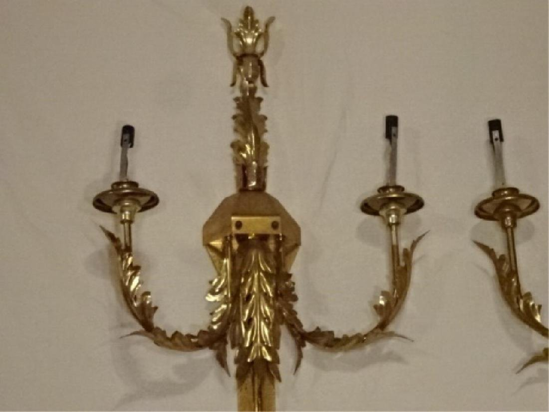PAIR LARGE BRASS WALL SCONCES, 6 LIGHTS EACH, ACANTHUS - 4