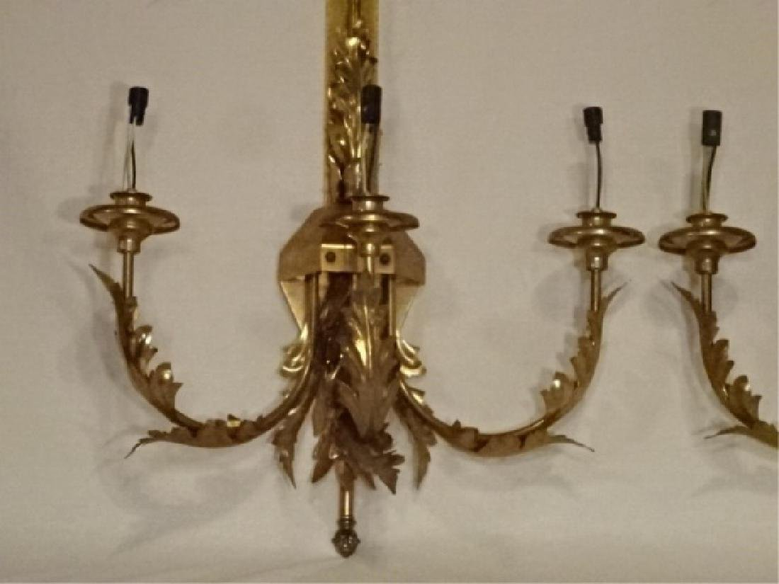PAIR LARGE BRASS WALL SCONCES, 6 LIGHTS EACH, ACANTHUS - 5