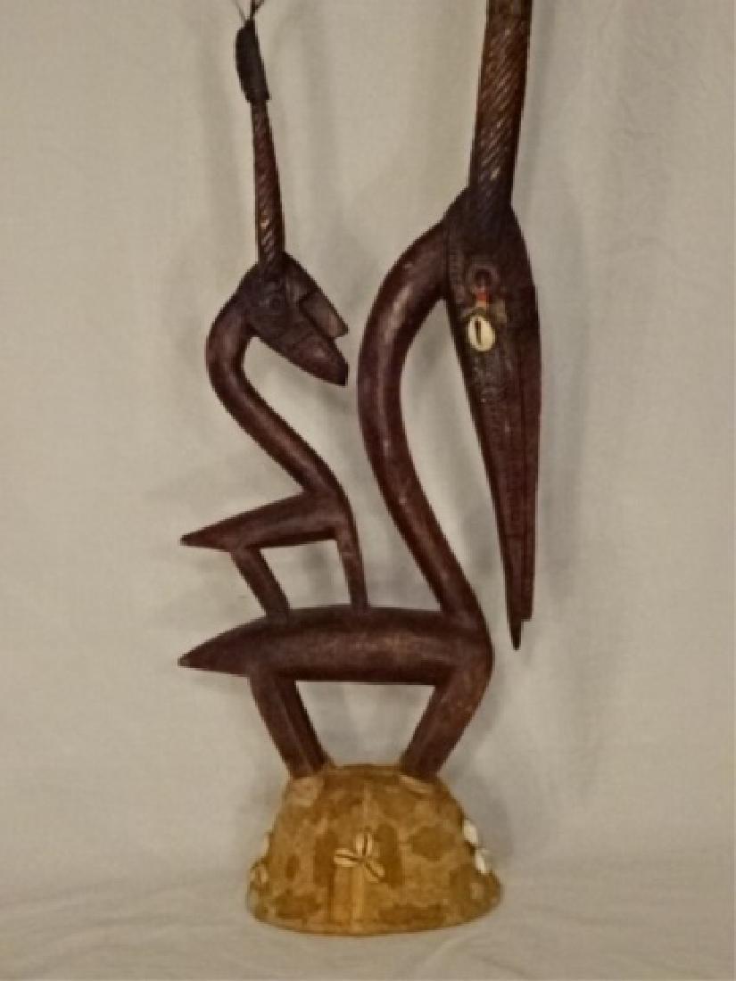 AFRICAN CHIWARA BAMARA WOOD ANTELOPE SCULPTURE / DANCE - 2