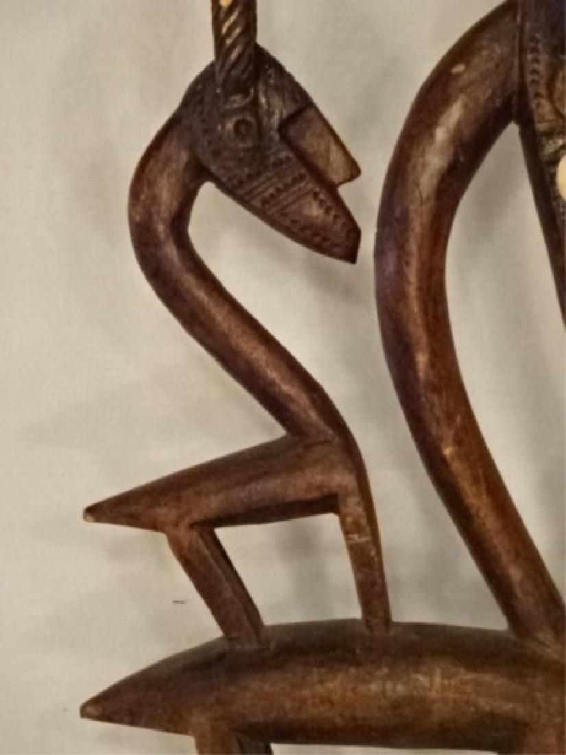 AFRICAN CHIWARA BAMARA WOOD ANTELOPE SCULPTURE / DANCE - 3
