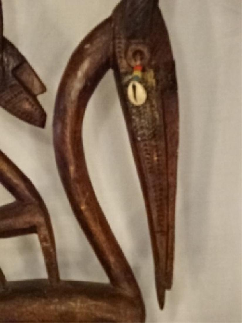 AFRICAN CHIWARA BAMARA WOOD ANTELOPE SCULPTURE / DANCE - 4