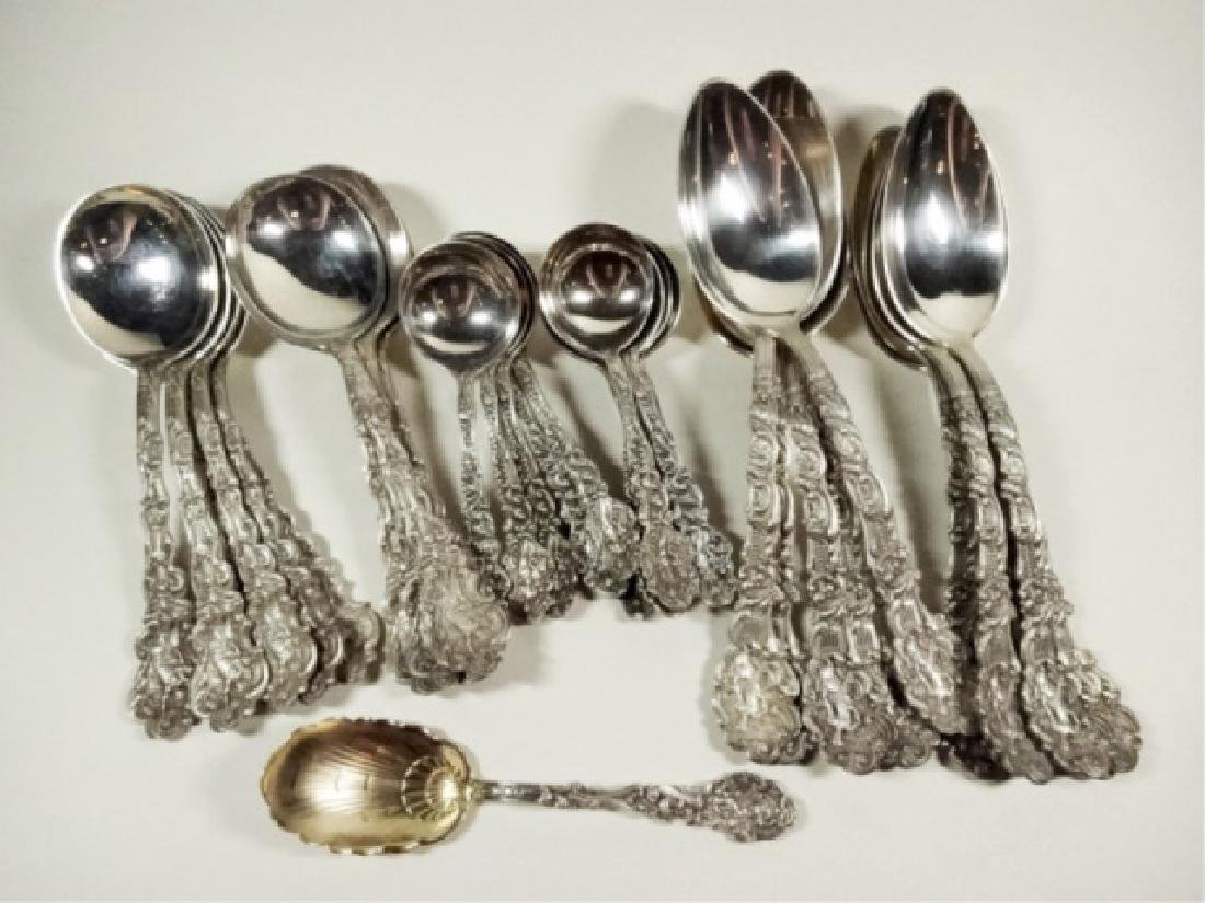 37 PC ANTIQUE GORHAM STERLING SILVER SPOONS,