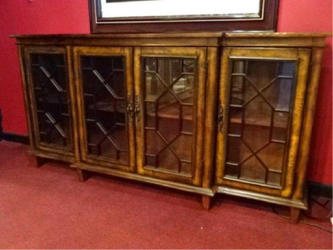 CONSOLE CABINET, 4 FRETWORK GLASS DOORS, BRASS PULLS,