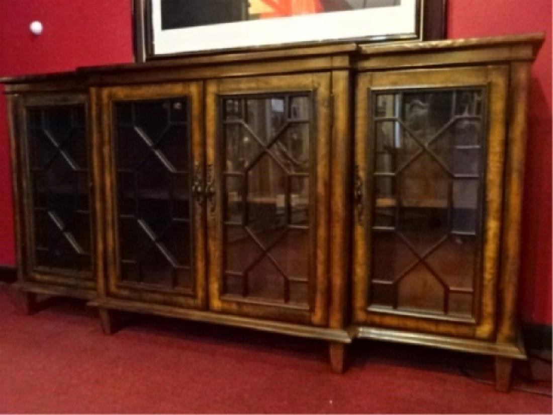 CONSOLE CABINET, 4 FRETWORK GLASS DOORS, BRASS PULLS, - 3