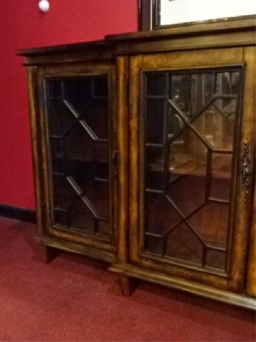 CONSOLE CABINET, 4 FRETWORK GLASS DOORS, BRASS PULLS, - 4