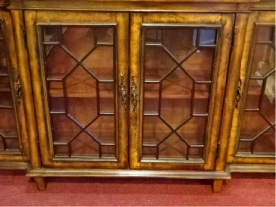CONSOLE CABINET, 4 FRETWORK GLASS DOORS, BRASS PULLS, - 5