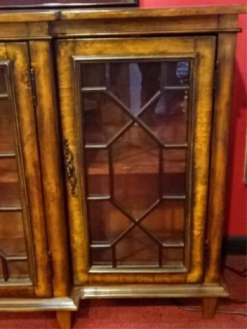 CONSOLE CABINET, 4 FRETWORK GLASS DOORS, BRASS PULLS, - 6