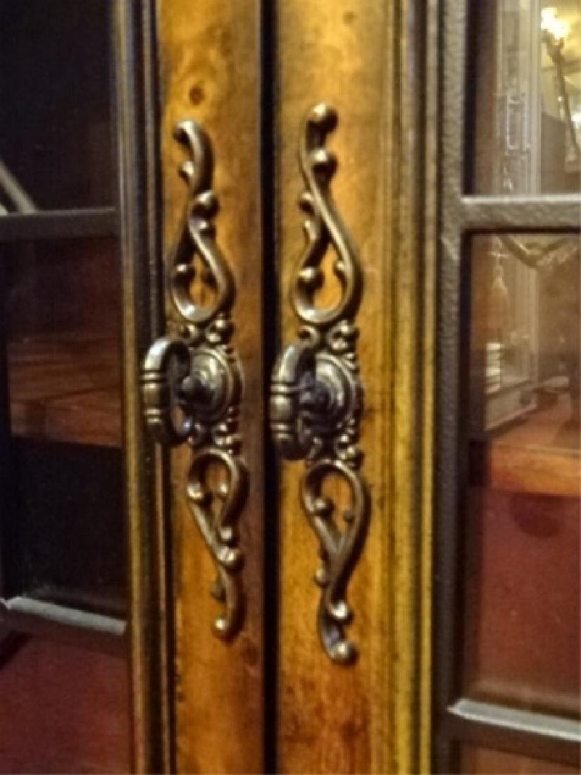 CONSOLE CABINET, 4 FRETWORK GLASS DOORS, BRASS PULLS, - 7