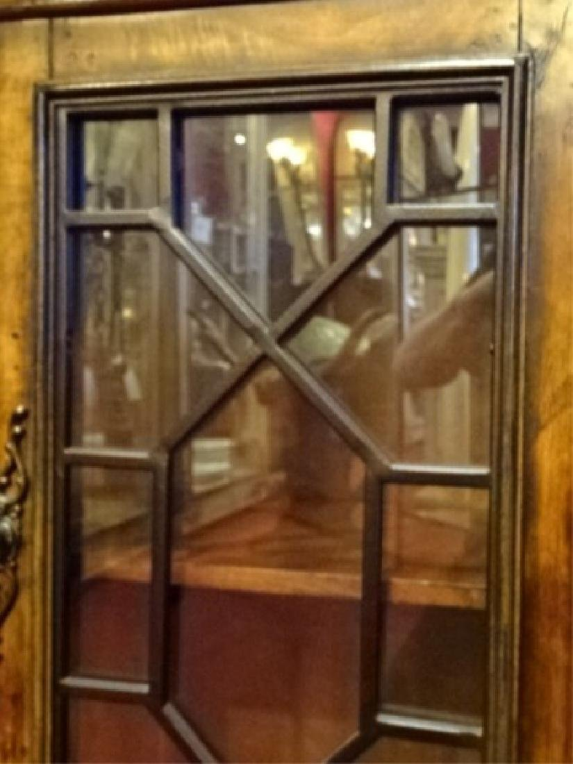 CONSOLE CABINET, 4 FRETWORK GLASS DOORS, BRASS PULLS, - 8