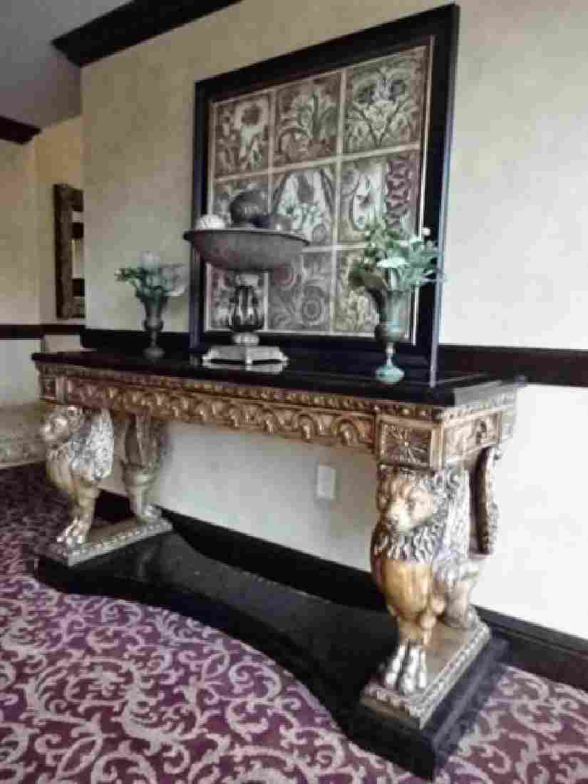 FRENCH EMPIRE STYLE WINGED LION CONSOLE TABLE,