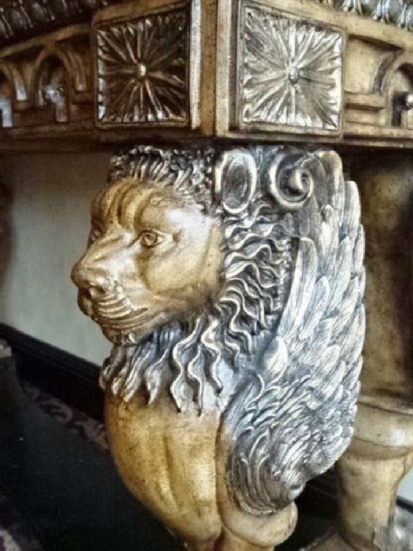 FRENCH EMPIRE STYLE WINGED LION CONSOLE TABLE, - 4